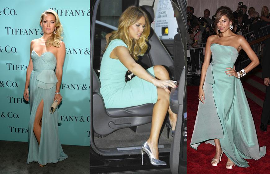 Que zapatos combinan con un vestido azul cielo