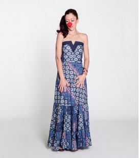 Vestido Uve Long Azul