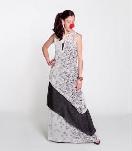 CASCADA DRESS LONG B&W