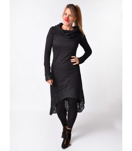 HOODIE DRESS LACE BLACK