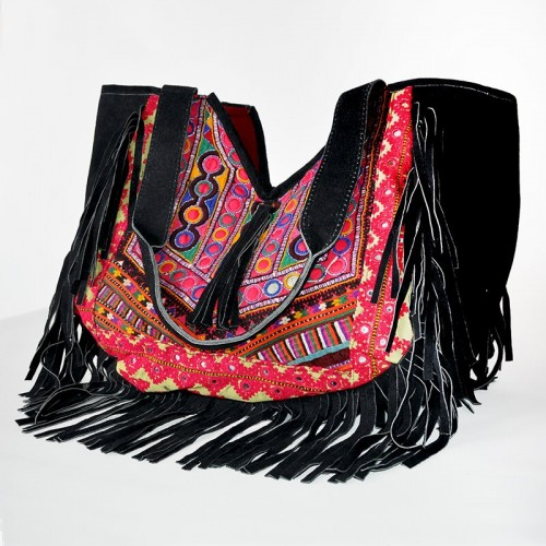 SUEDE FRINGES BAG XL