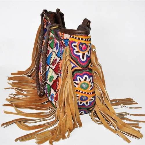 LEATHER FRINGES BAG