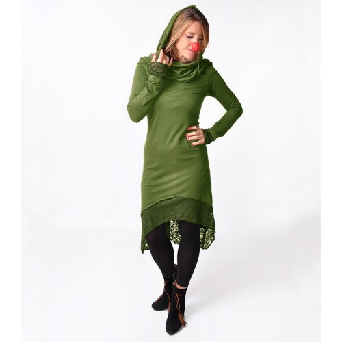 HOODIE DRESS LACE ARMY GREEN