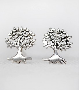 CARVED SILVER BUTTON EARRINGS 925 TREE OF LIFE