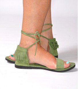 SUEDE LEATHER FRINGES SANDALS GREEN