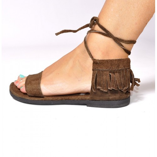 SUEDE LEATHER FRINGES SANDALS BROWN