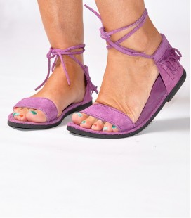 SUEDE LEATHER FRINGES SANDALS PURPLE