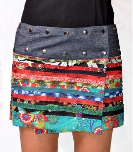 SOSTENIBILE SHORT DENIM SKIRT BUTTONS