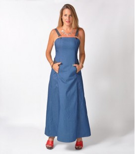 LONG DENIM OVERALL DRESS