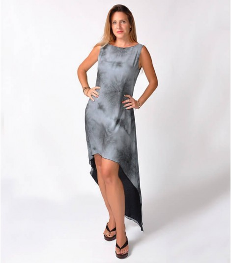 GREY STRIPES TIE DIE HIGH-LOW DRESS