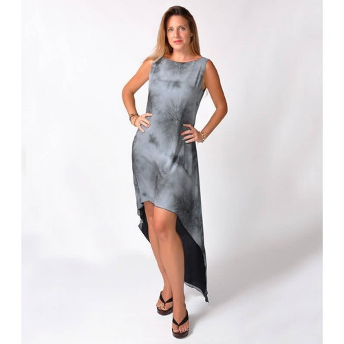 GREY STRIPES TIE DYE HIGH-LOW DRESS