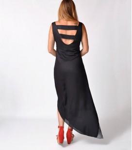 GREY STRIPES TIE DIE HIGH-LOW DRESS
