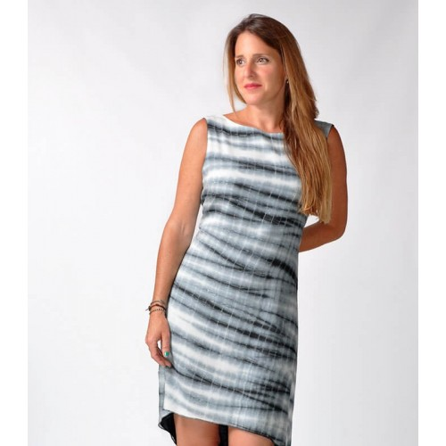 STRIPED TIE DYE HIGH-LOW DRESS