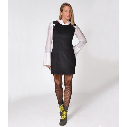 PINAFORE DRESS BLACK CORDUROY