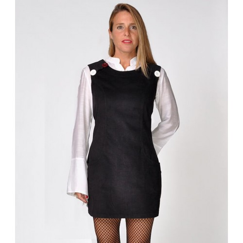PINAFORE CORDUROY BLACK DRESS