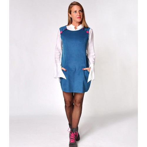 PINAFORE CORDUROY TEAL BLUE DRESS