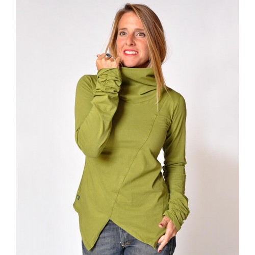 PIXIE NEK GREEN T-SHIRT