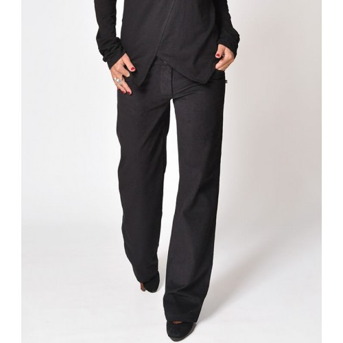 CORDUROY STRAIGHT BLACK PANTS