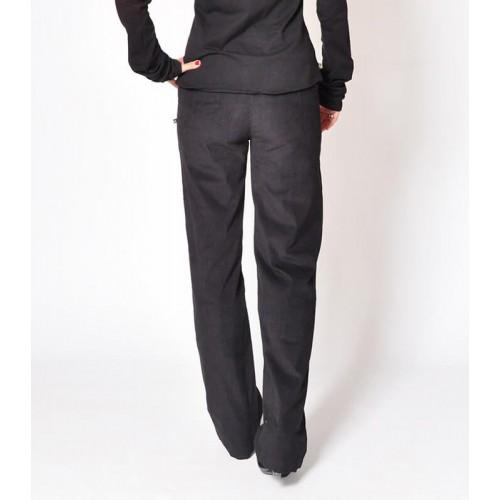 CORDUROY STRAIGHT BLACK PANTS