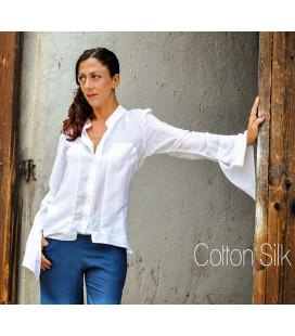 WHITE BELL SLEEVED COTTON SILK BLOUSE