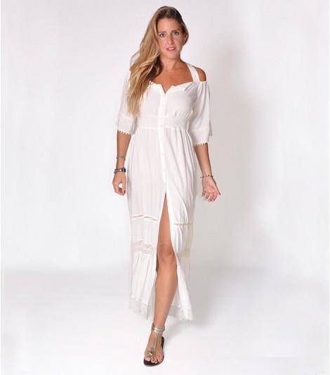 5dac005e1 Maxi vestido blanco con encajes en algodón