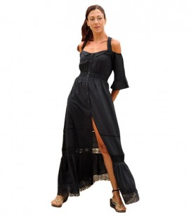 ROMANTIC LACE MAXI DRESS BLACK