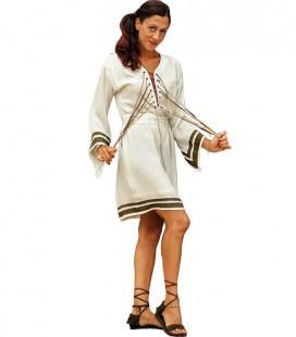 LACEUP TUNIC DRESS EYELET OFF WHITE