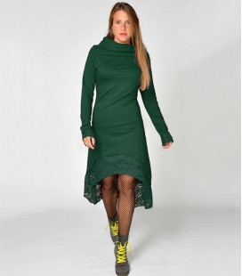 HOODIE DRESS LACE BOTTLE GREEN