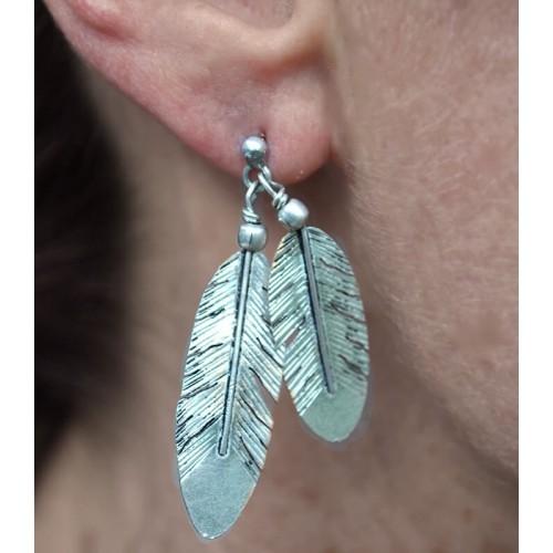 FEATHER EARRINGS SILVER
