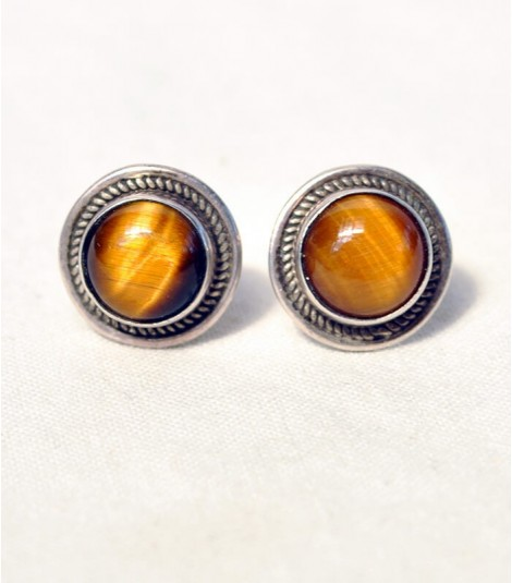EYE OF TIGER STERLING SILVER STUD EARRINGS