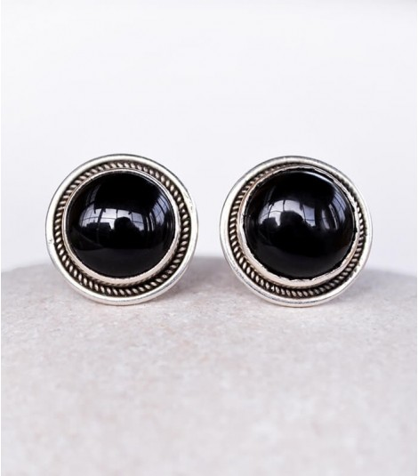 ONYX STERLING SILVER STUD EARRINGS