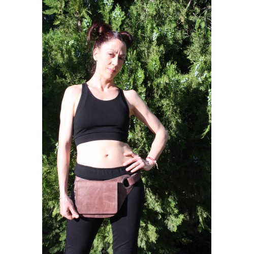 GENUINE LEATHER FANNY PACK RINGS & CARABINER
