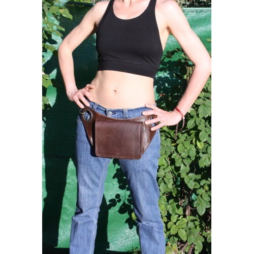 Strong Leather Utility Belt. Fanny pouch  First Quality Leather and clips. Long life YKK zips. Women and Men. Festival Outfit.