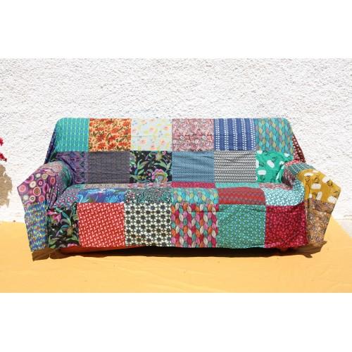 Multipurpose king size patchwork natural cotton mat.
